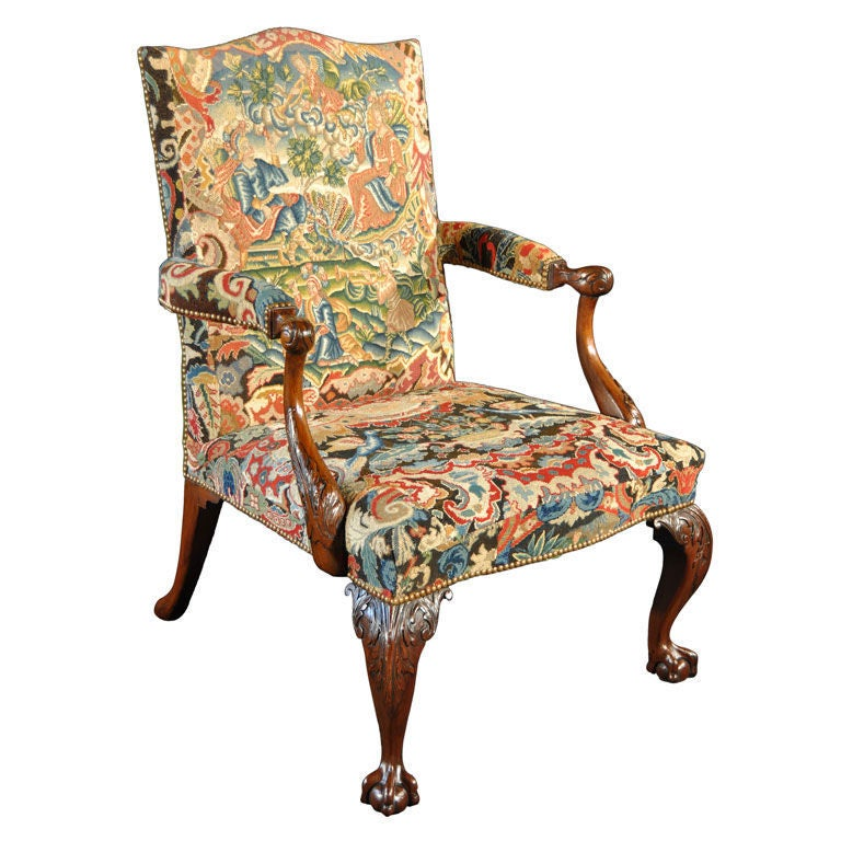 George II Mahogany and Needlework Upholstered Library