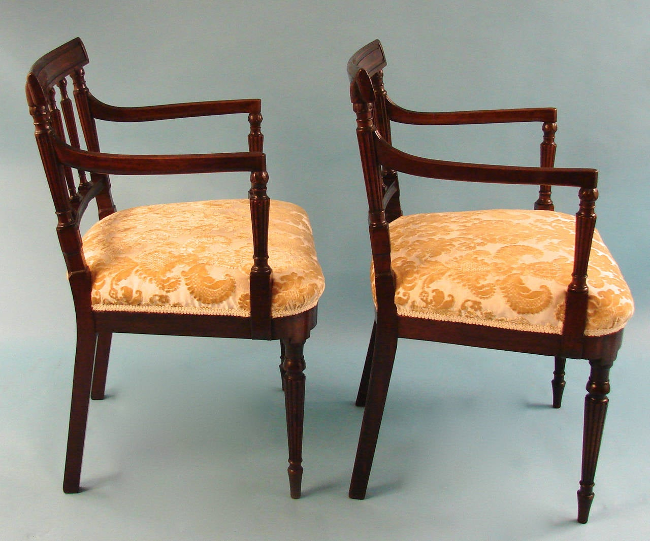 small scale upholstered dining chairs black leather lounge chair pair of george iii mahogany armchairs at 1stdibs