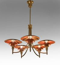 Poul Henningsen, A Rare Copper Shade PH Anchor Chandelier