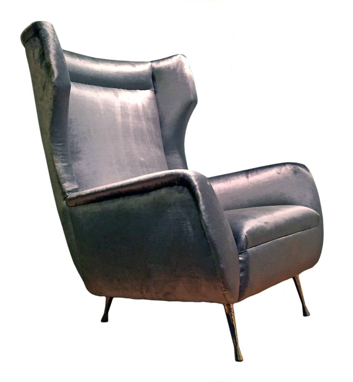1950s Curved Velvet Wingback Armchair at 1stdibs