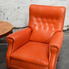 Orange Leather Chairs Side Chair Table Vintage Swedish Lounge At 1stdibs