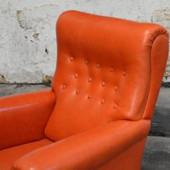 Swedish Leather Recliner Chairs Wedding Chair Decorations Vintage Orange Lounge At 1stdibs