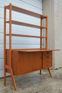 Swedish Mid-Century Modern Teak Desk and Hutch at 1stdibs
