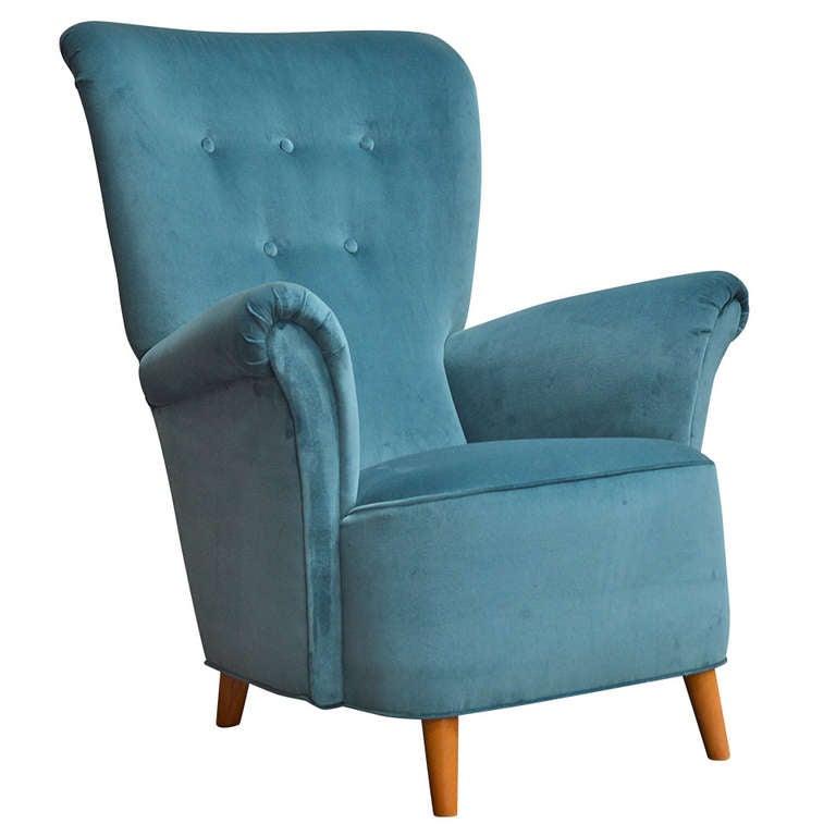 Swedish Art Moderne High Back Lounge Chair at 1stdibs