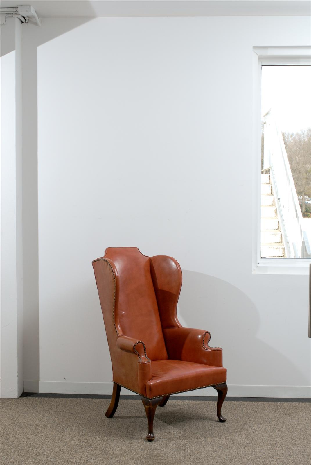 queen anne wingback chair leather how to upholster chairs style wing in burnished orange