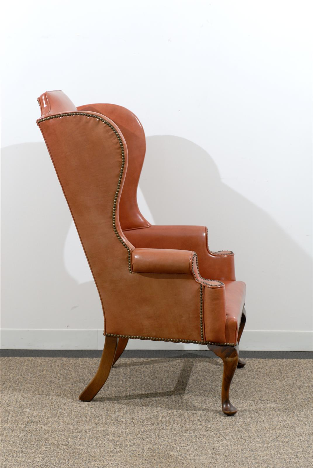 Queen Anne Wingback Chair Leather Queen Anne Style Wing Chair In Burnished Orange