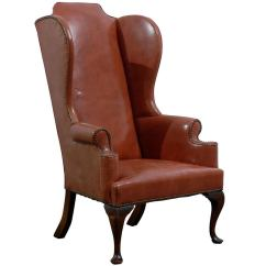 Queen Anne Wingback Chair Leather Posture Corrector For Office Style Wing In Burnished Orange