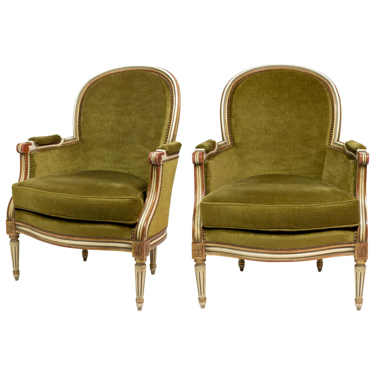french velvet chair how to make a queen throne louis xvi green bergeres at 1stdibs