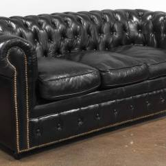 Chesterfield Sofa Buy Uk Blue Striped Bed Vintage Black Leather At 1stdibs English For Sale