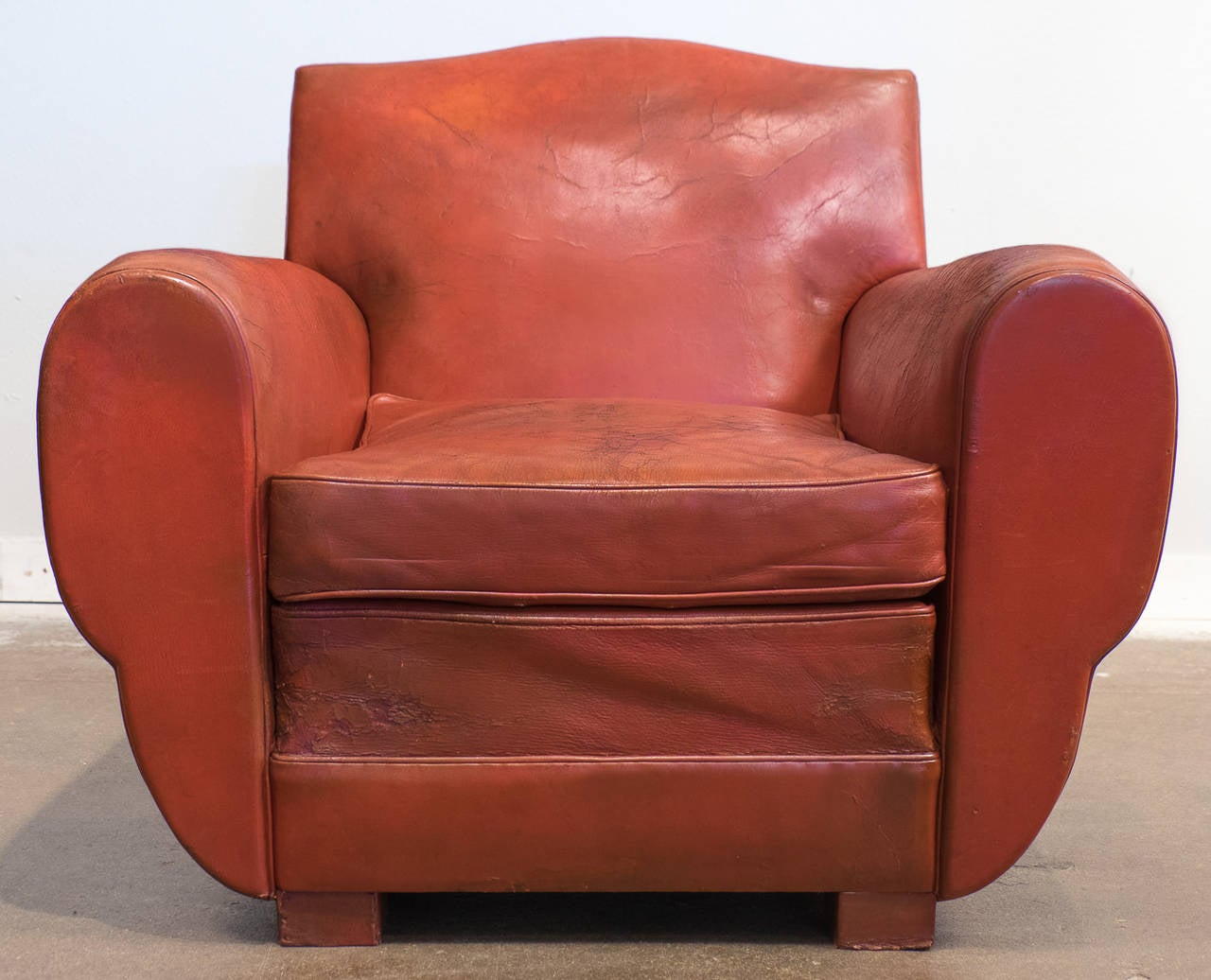 French Club Chair Superb French Vintage Red Leather Club Chair At 1stdibs