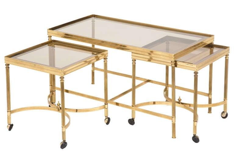 Vintage Brass Nesting Coffee Table Set at 1stdibs