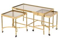 Vintage Brass Nesting Coffee Table Set at 1stdibs