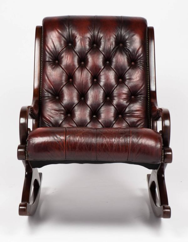 Vintage Tufted French Mahogany and Leather Rocking Chair