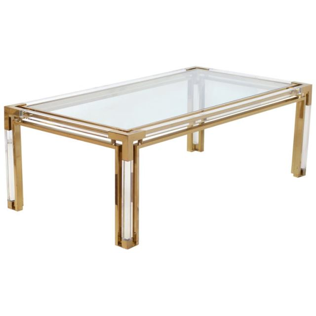 Brass Lucite Side Table. Sinaapp.co
