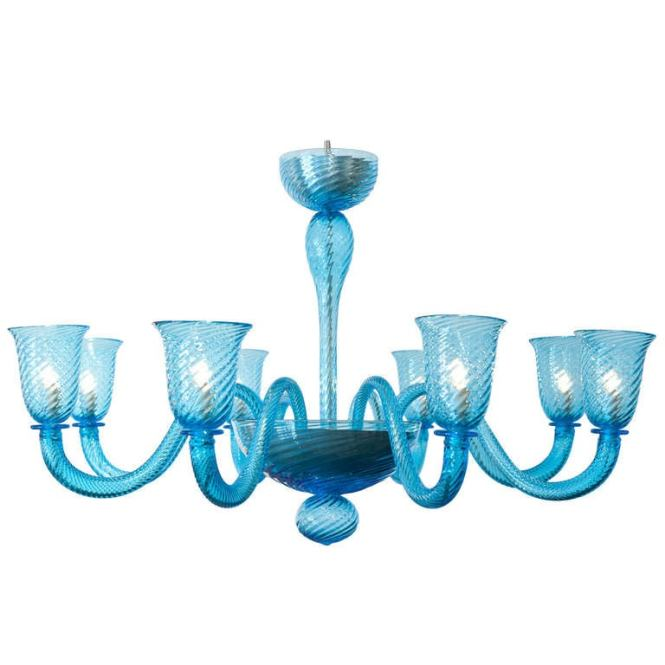 Cerulean Blue Murano Glass Chandelier For