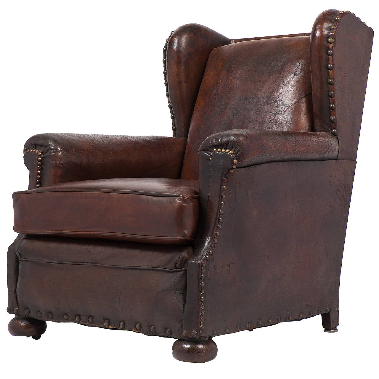 French Club Chair French Vintage Wingback Leather Club Chair For Sale At 1stdibs