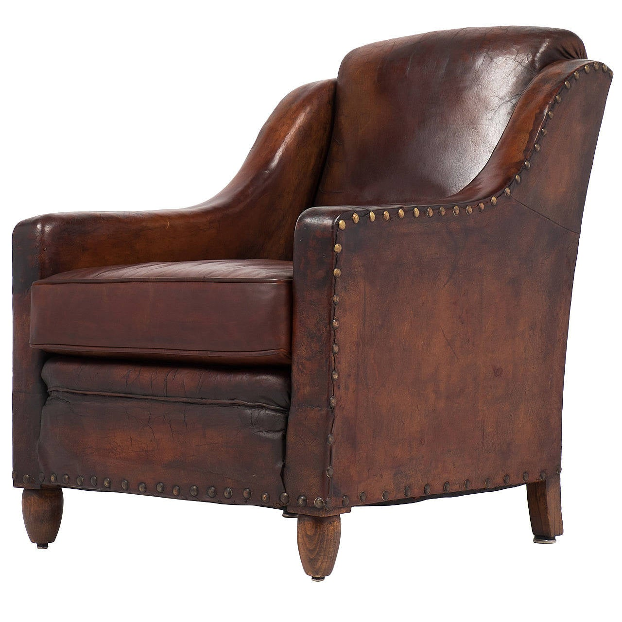 Leather Arm Chairs French Vintage Leather Armchair At 1stdibs