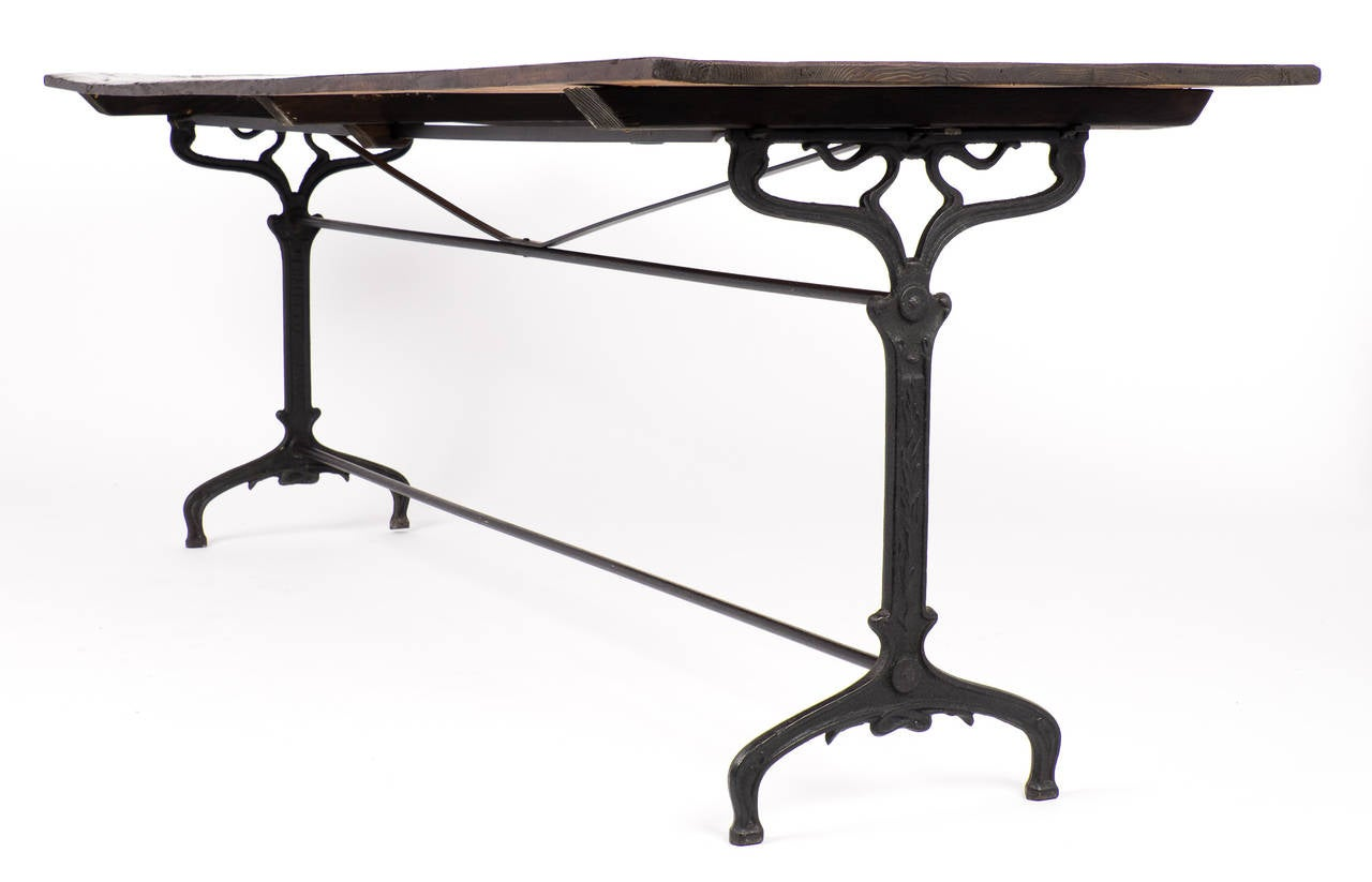 Antique Cast Iron Bistro Table With Fir Top At 1stdibs