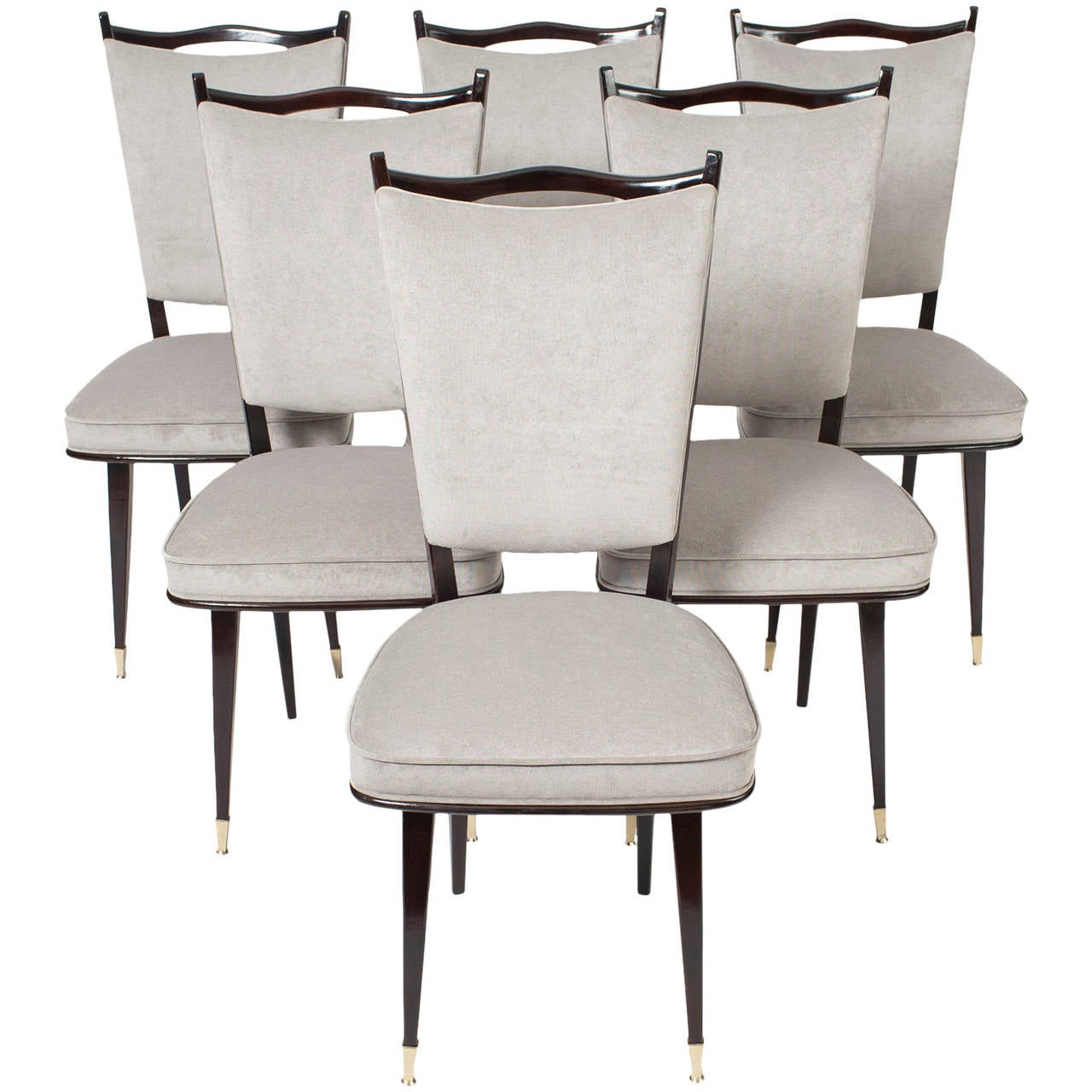 Mid Century Dining Chair French Set Of Six Mid Century Modern Dining Chairs At 1stdibs