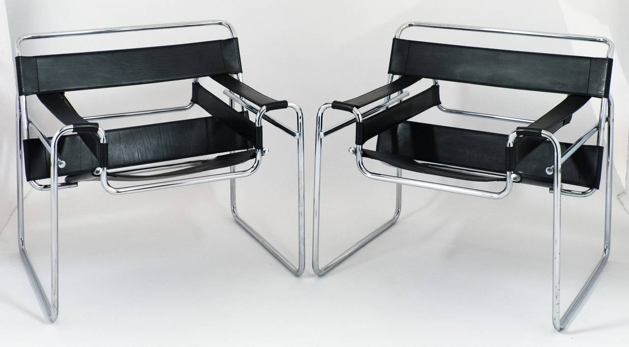 wassily chair brown leather coleman max camping vintage pair of and chrome chairs at 1stdibs