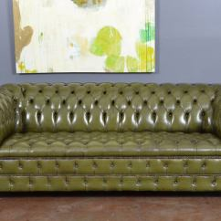 Tufted Leather Sofa With Rolled Arms Best Bed Mattress Vintage English Olive Green Chesterfield At ...