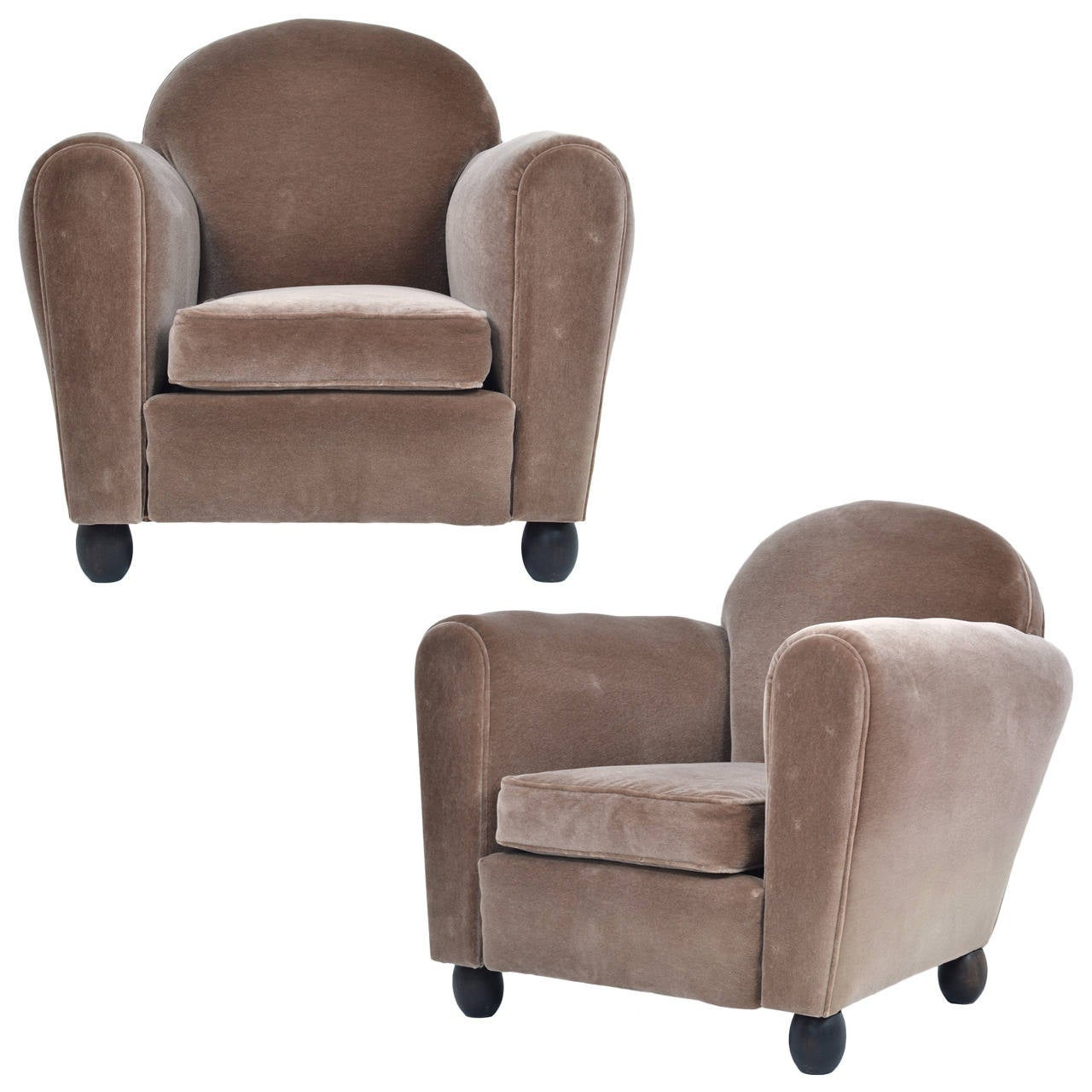 Velvet Club Chair Vintage Pair Of Mohair Velvet Club Chairs At 1stdibs