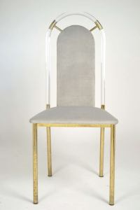 Vintage Lucite and Brass Side Chair at 1stdibs