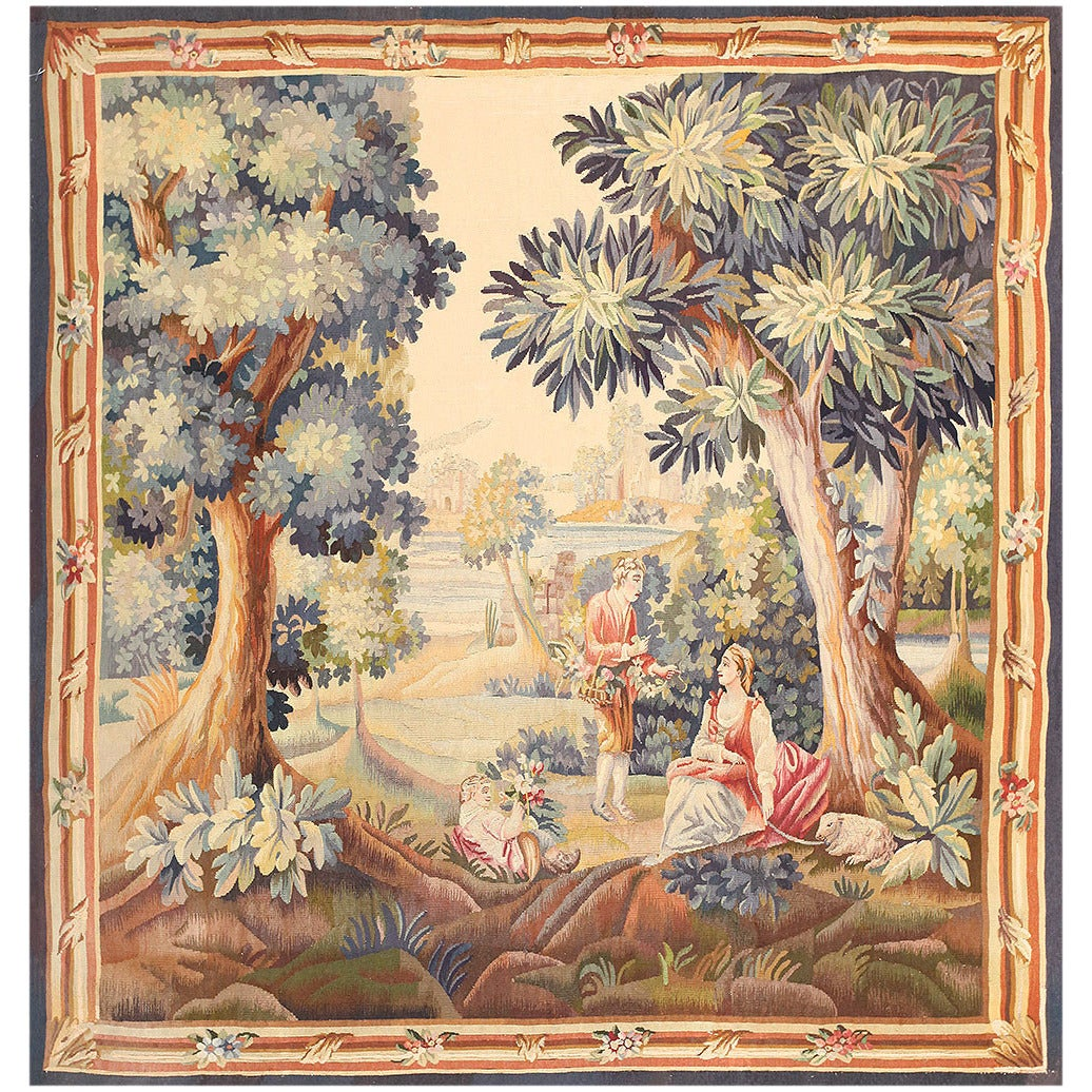 Lovely Pastoral Silk And Wool Antique French Tapestry For
