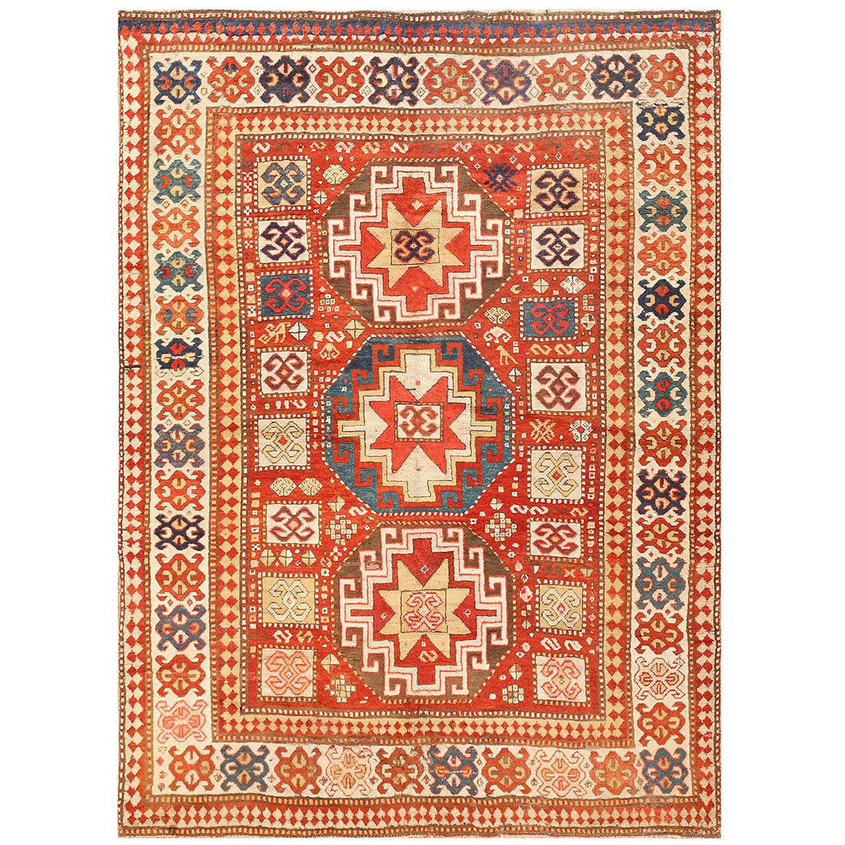 Antique Tribal Kazak Rug For Sale at 1stdibs