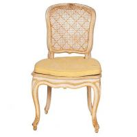 Vintage White and Yellow Caned Chairs at 1stdibs