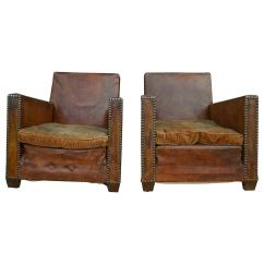 Leather Chairs For Sale Chair Cover Hire Sheffield Pair Of Club At 1stdibs
