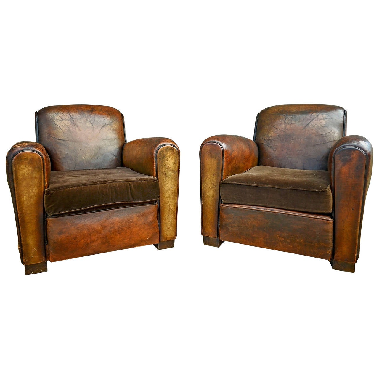 French Club Chair Pair Of French Leather Club Chairs With Velvet Cushions