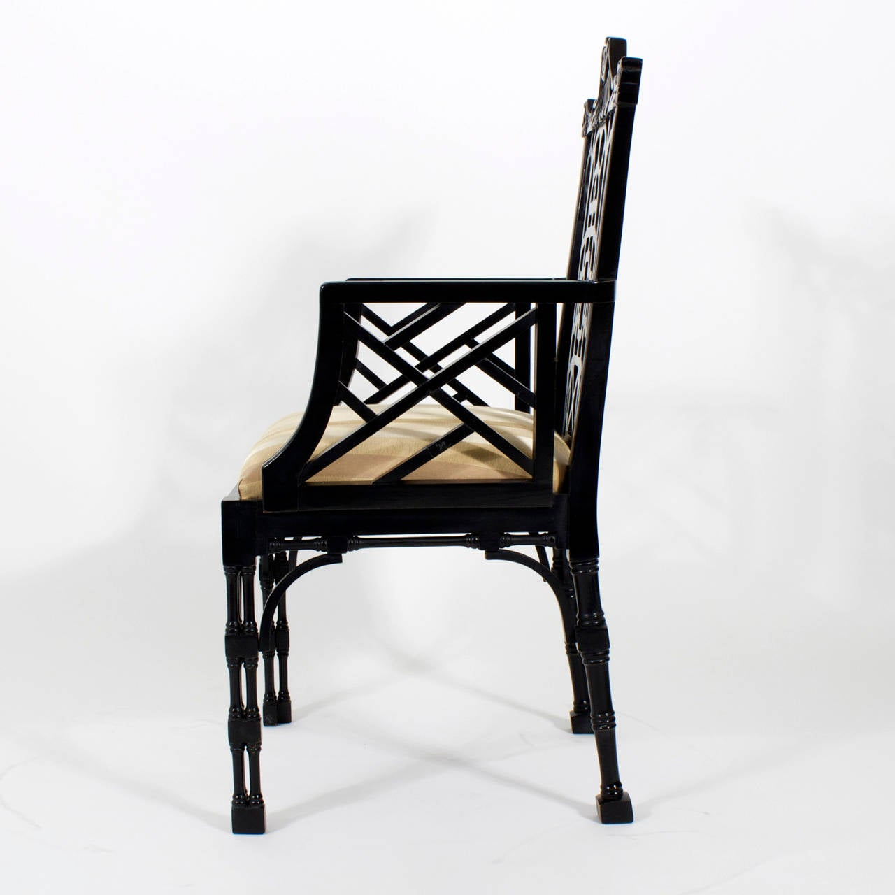 chinese chippendale chairs high back office chair slip covers set of ten ebonized dining and