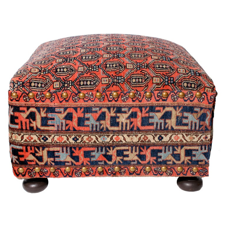 Oriental Rug Covered Ottoman Hassock or Footstool For