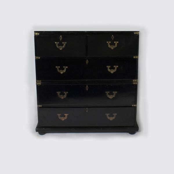 Ebonized Campaign Chest Of Drawers With Mirrored Door