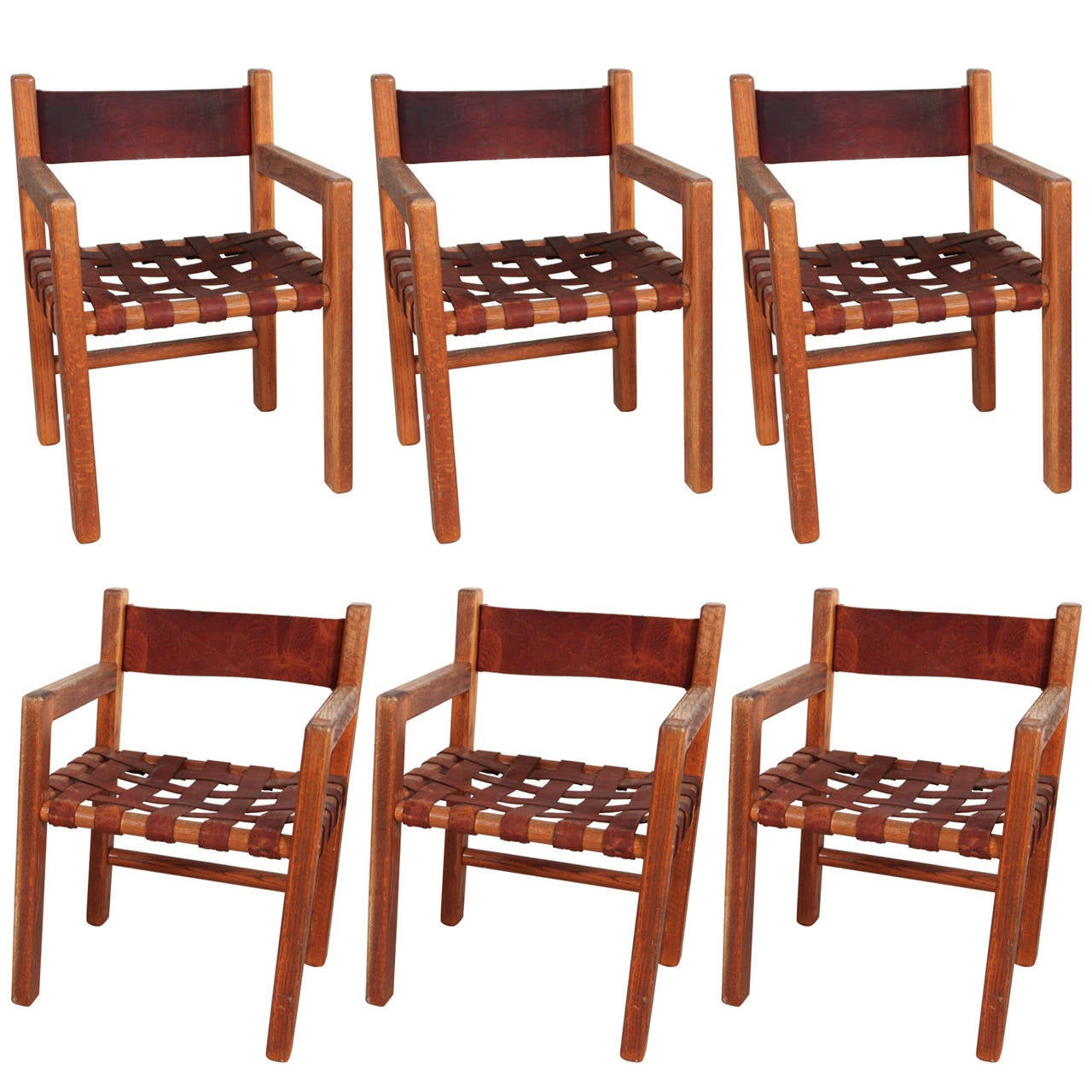 woven dining chairs black fitted chair covers set of six wood and saddle leather at