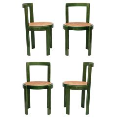 Cane Dining Chairs For Sale Double Lawn Chair Set Of Four Green Stain And Round Seat