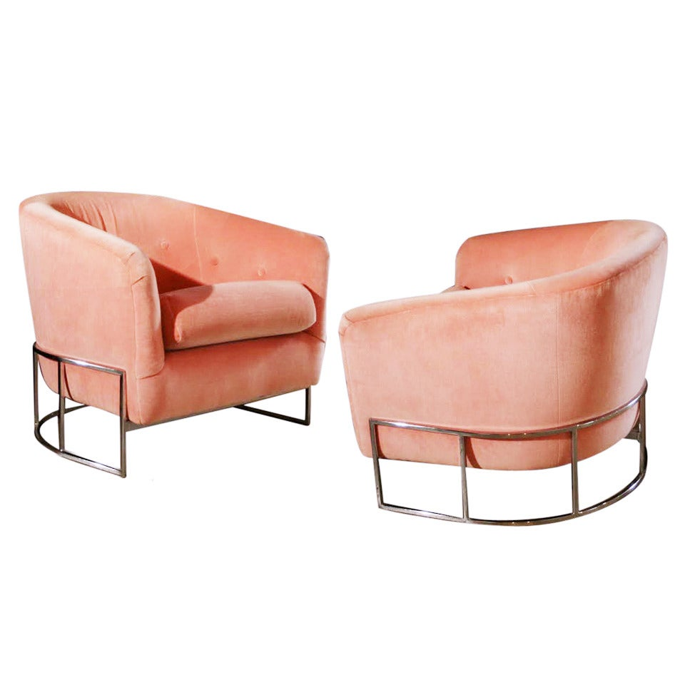 modern leather recliner swivel chair hair wash size pair of milo baughman chrome tufted barrel chairs at 1stdibs