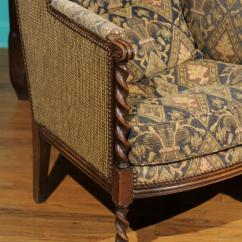 Barley Twist Chair Whiskey Barrel Chairs And Table Pair Of Antique Upholstered At 1stdibs