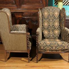 Barley Twist Chair Office Executive Leather Pair Of Antique Upholstered Chairs At 1stdibs