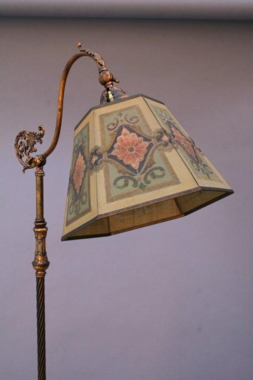 Bridge Lamp With Metal Mesh Shade at 1stdibs