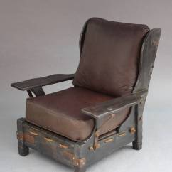 Rope Bottom Chair Luraco Massage Early Rancho Style Old Wood Finish Signed Monterey Wingback At Furniture Wing Back Chairs With Original New