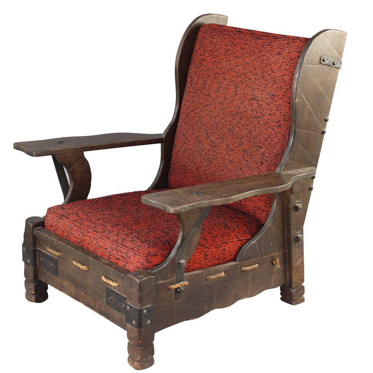 rope bottom chair rockin roller desk monterey old wood finish wingback with at 1stdibs for sale