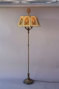 1920s Antique Floor Lamp With Metal Mesh Shade at 1stdibs