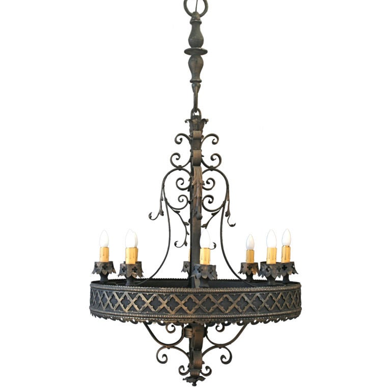 Large Scale Spanish Revival/Gothic Flavored Chandelier at