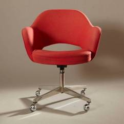 Red Swivel Desk Chair Cover Rental Wedding Eero Saarinen Executive Arm For Knoll In
