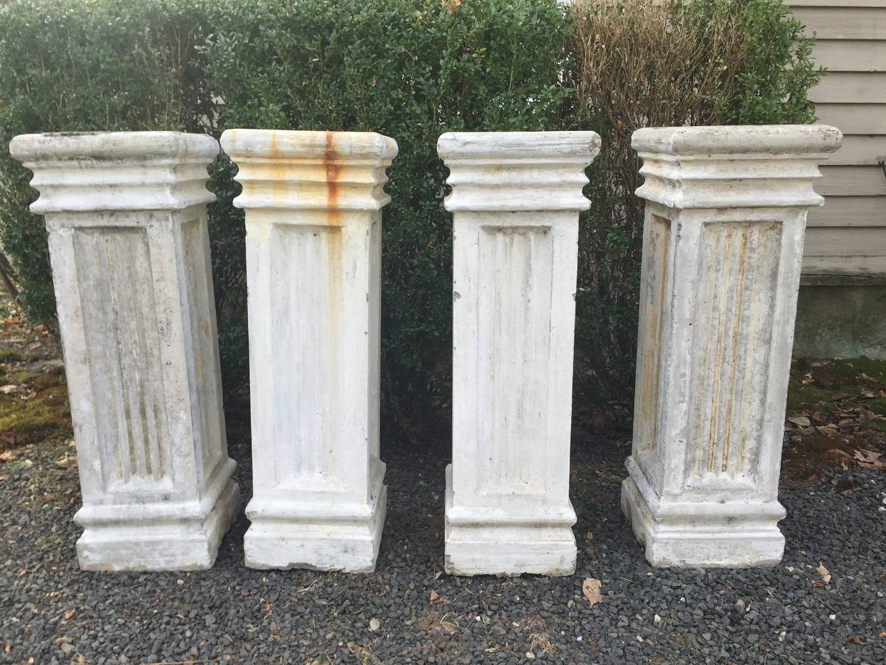 Two Pairs Of Tall Fluted Cast Stone Pedestals For Sale At