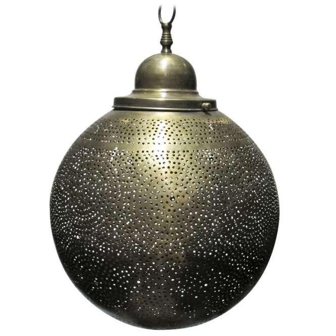 Brass Moroccan Round Pendant Chandelier 1