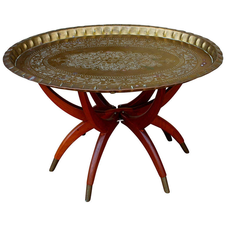 mid century oval brass tray coffee table moroccan