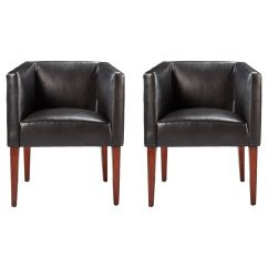 Jean Michel Frank Style Sofa Reupholster Bedford Pair Of Leather Club Chairs In The Manner
